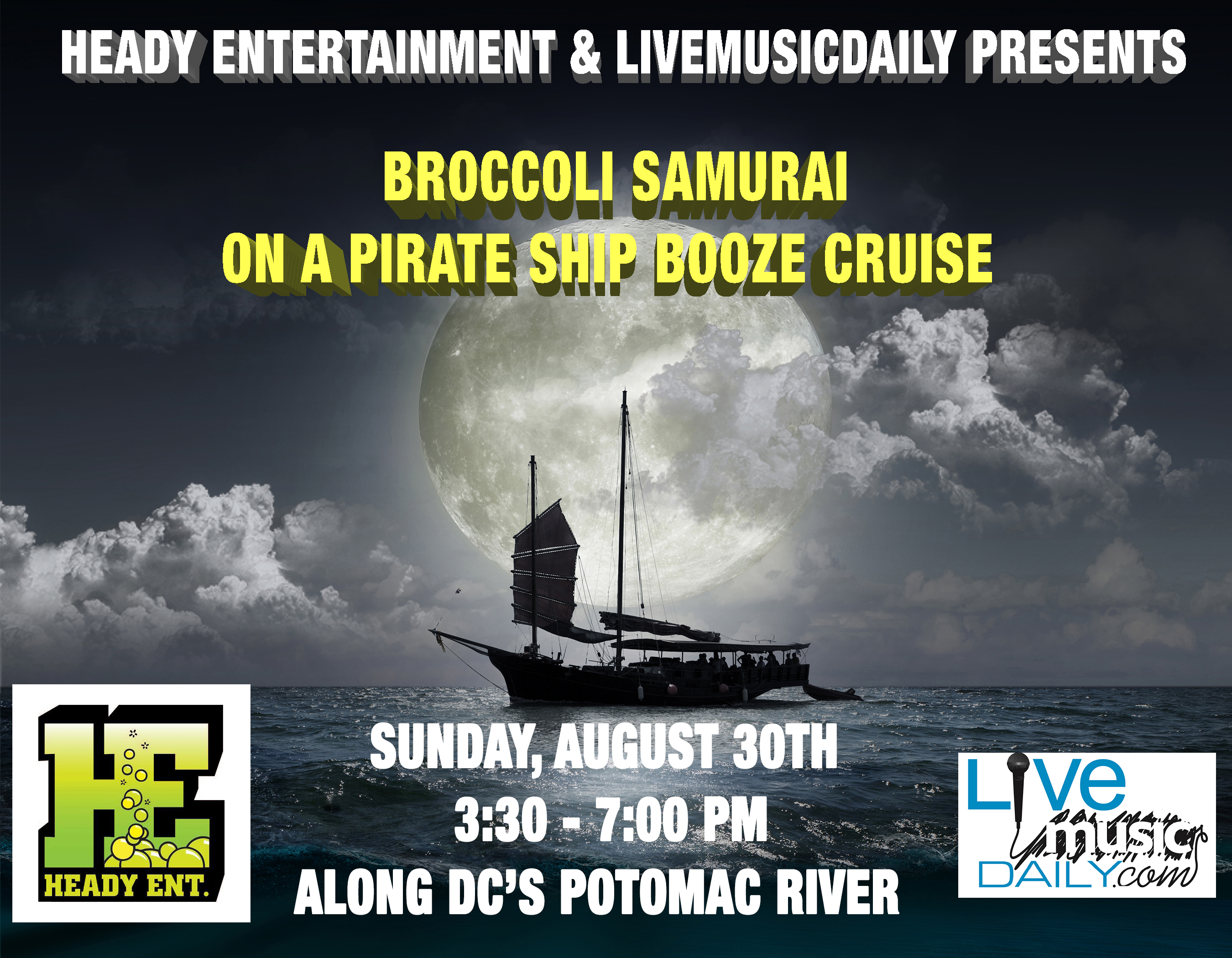 LiveMusicDaily Joins Forces With Heady Entertainment For Broccoli - Pirate ship booze cruise